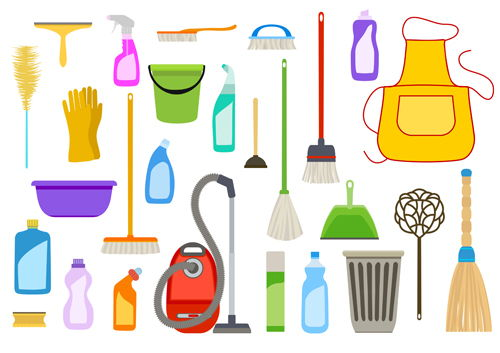Various cleaning tools vector huge collection 08