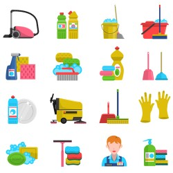 Various cleaning tools vector huge collection 01