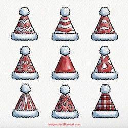 Various watercolor santa claus hats