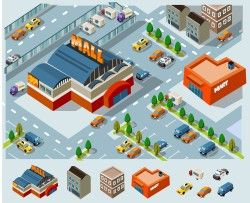 Vector cars and buildings
