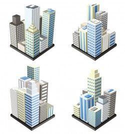 Vector cartoon city buildings