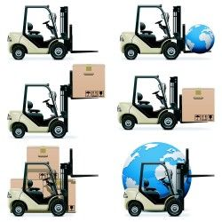 Vector cartoon truck cartons