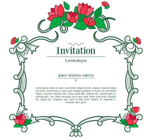 Vine flowers invitation card vector pictures