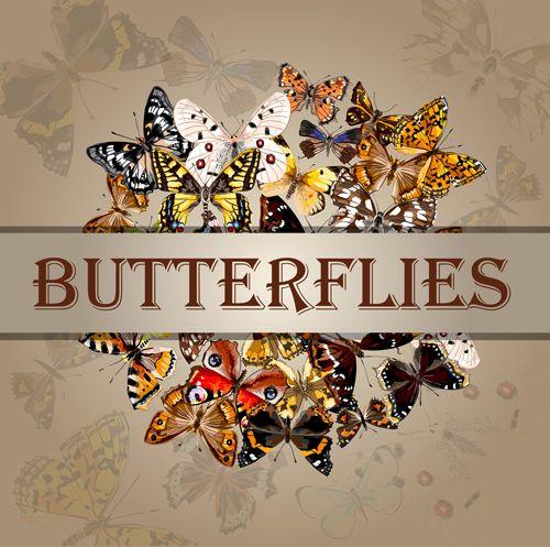 Vintage butterflies art background vector 05