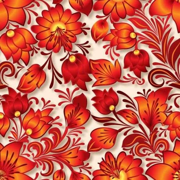 Vintage flower ornament pattern vectors set 04