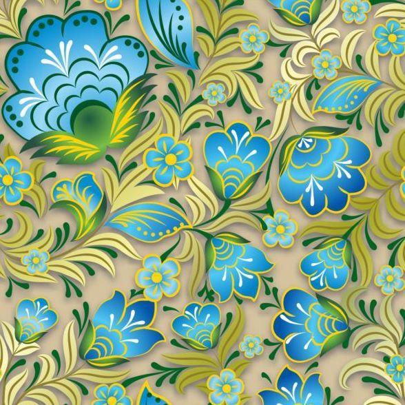 Vintage flower ornament pattern vectors set 06