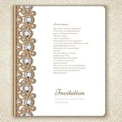 Vintage golden frames with diamond invitation vector 04