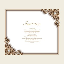 Vintage golden frames with diamond invitation vector 03