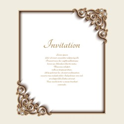 Vintage golden frames with diamond invitation vector 02