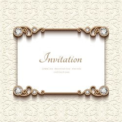 Vintage golden frames with diamond invitation vector 01