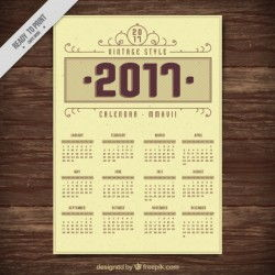 2017 vintage style calendar