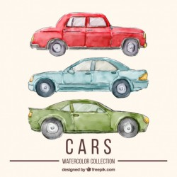 Watercolor car set