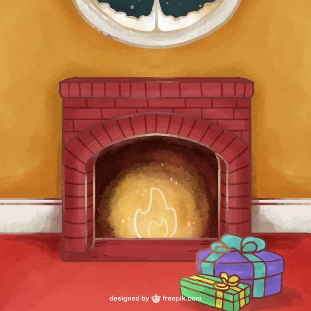 Watercolor fireplace background with christmas gifts