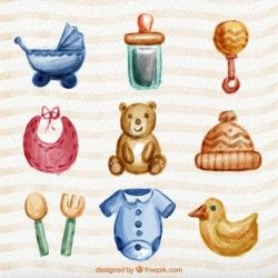 watercolor lovely baby items