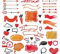 Watercolor ribbons and arrows vector pictures
