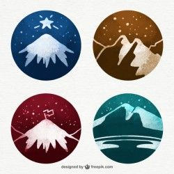 Watercolor snowy mountains illustrations