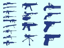 19 Western Guns Silhouette Vector