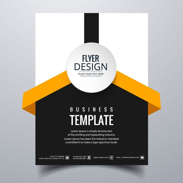 White, black and orange geometric brochure