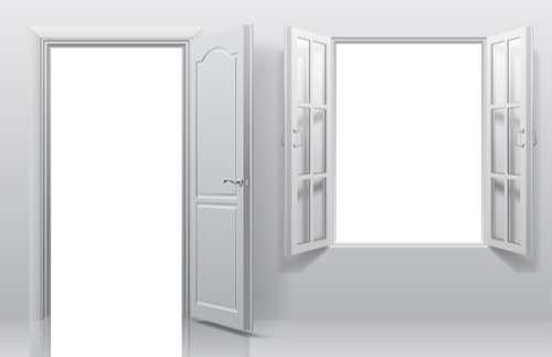 White doors with window vector template