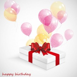 White gift box with balloons vector