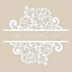 White lace invitation card vector 01
