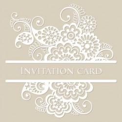 White lace invitation card vector 02