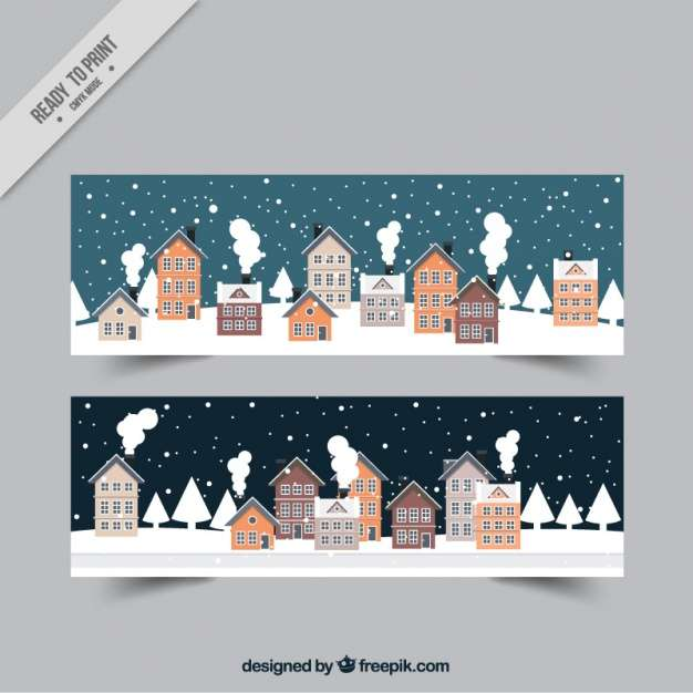 Winter cityscape banner collection
