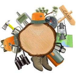 Wooden doard with camping accessories