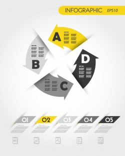 yellow infographic template with arrows in circle vector