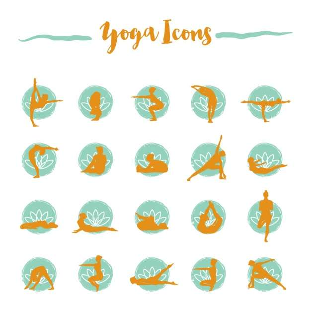 Yoga icons collection Vector | Free Download