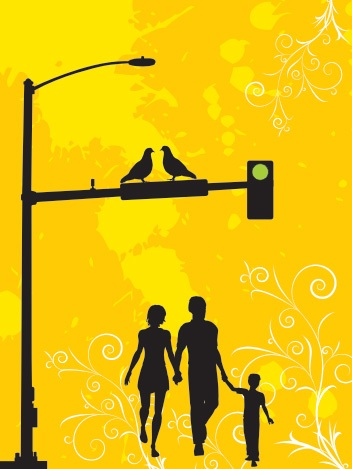 A family walk in the city Vector