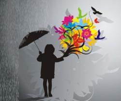 Blooming in the rain Vector