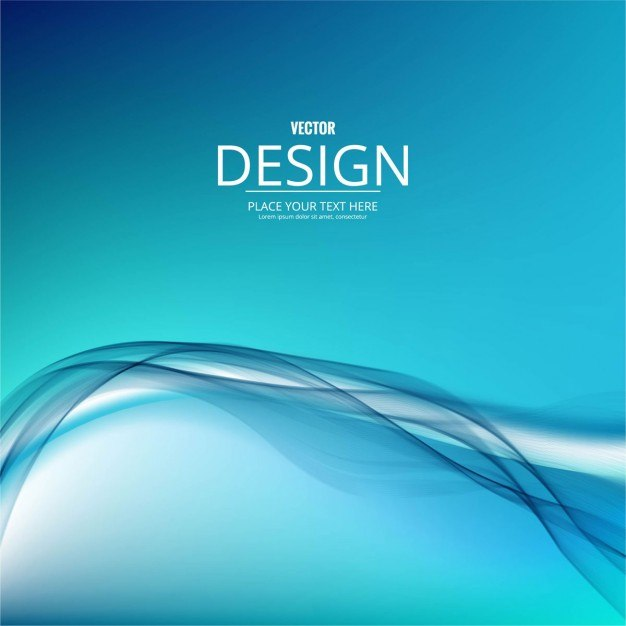 Blue gradient background with wavy shapes