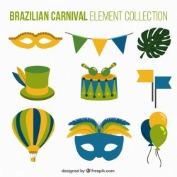 Brazilian carnival elements with green details