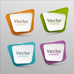 Colored paper banners set vector 05