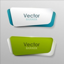 Colored paper banners set vector 02
