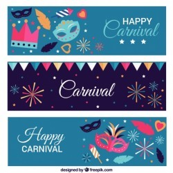 Colorful banners with carnival masks and fireworks