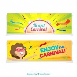 Colorful brazilian carnival banners in flat design