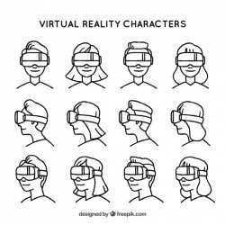 Different characters with virtual reality glasses