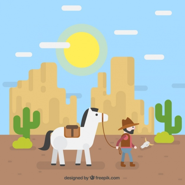 Flat background with cowboy and rocky mountains