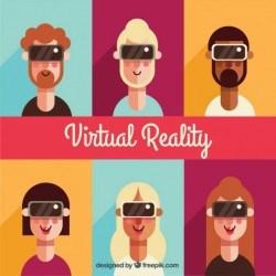 Flat set of characters using virtual reality glasses