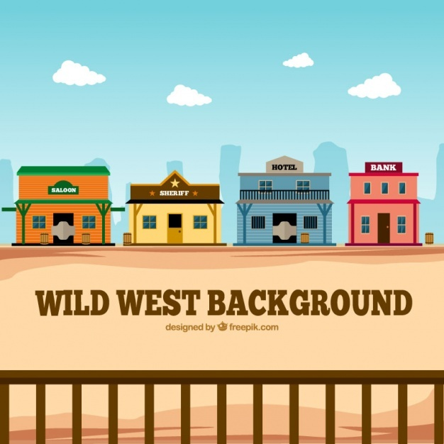 Flat western background with colorful buildings