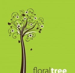 Floral Tree Vector Graphic