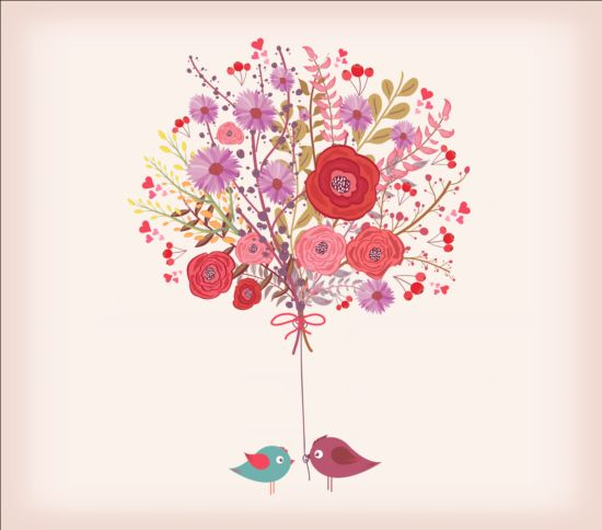 Hand drawn watercolor flowers and birds vector