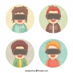 Happy boys enjoying virtual reality glasses with round background