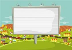 Parque people with big billboard vector 02