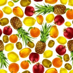 Pattern with watercolor fruits