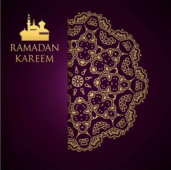 Ramadan kareem purple backgrounds vector set 20