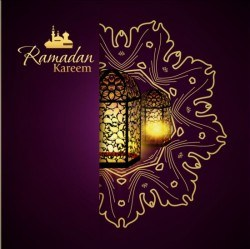 Ramadan kareem purple backgrounds vector set 24