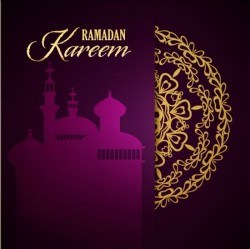 Ramadan kareem purple backgrounds vector set 26